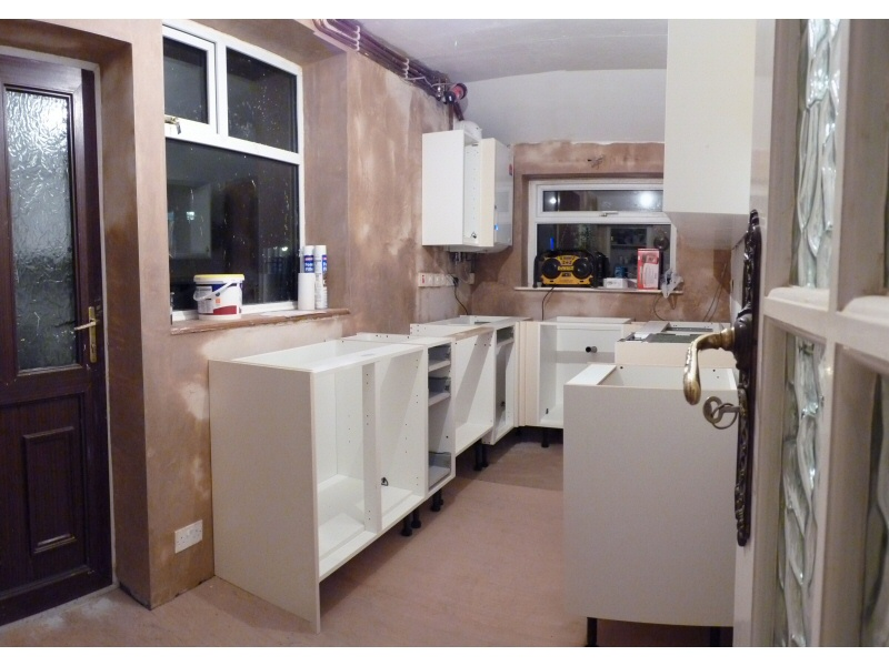 Photo - Fitted Kitchen, Blackpool (2 of 6) - Kitchen unit frames assembled and positioned. - Fitted Kitchens and Bathrooms - Home - © J C Joinery