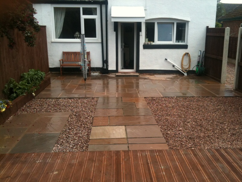 Photo - Indian Paving (1 of 1) - Rear garden in Preston transformed using indian stone paving, railway sleepers, loose gravel and new fencing. - Other Joinery and Building Work - Home - © J C Joinery