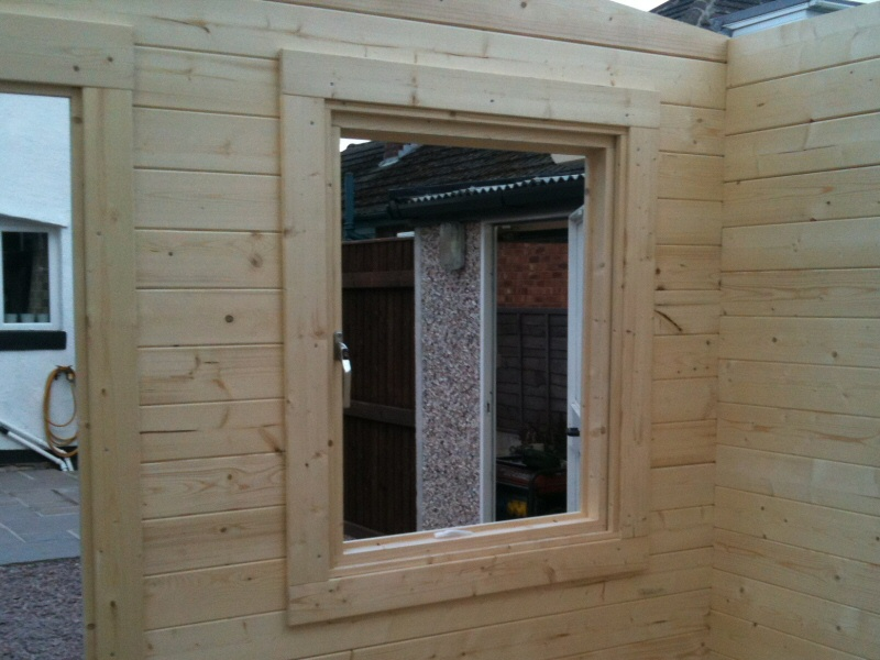 Photo - Outside Office (5 of 7) - The windows to be fitted are double glazed and feature a five point locking mechanism. - Log Cabins - Home - © J C Joinery